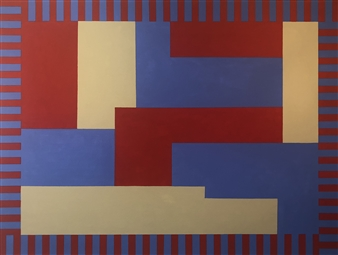 Roberta Caviglia - Playful Geometry #5 Acrylic on Canvas, Paintings