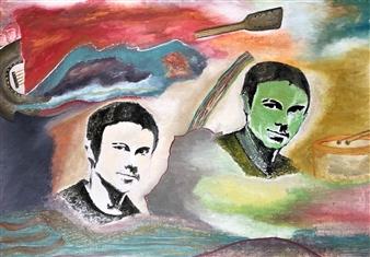 Merab Kardava - Singer and Oscar Oil on Canvas, Paintings