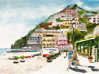 Nancy Holleran - Positano Giclee Print, Prints