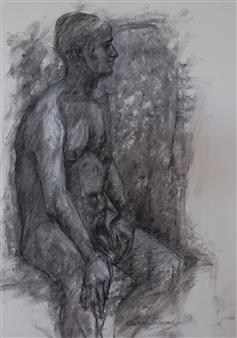 Jutta Ebeling-Dehnhard - Seated Male Nude Charcoal on Paper, Drawings