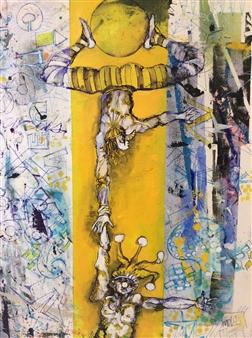 Michael Dolen - Circus Figures 921V Mixed Media on Paper, Mixed Media