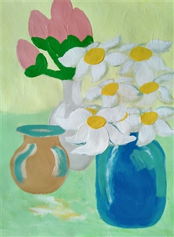Yu He - Still Life No.607 Acrylic on Paper, Paintings