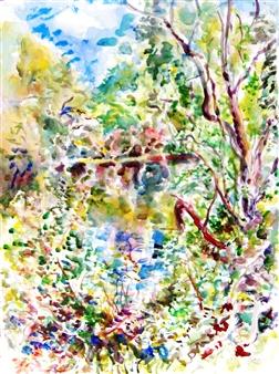 James Chisholm - Ipswich River, Topsfield, East View Watercolor on Paper, Paintings