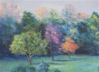 Margaret Adams - Light Morning Trees Oil on Canvas, Paintings