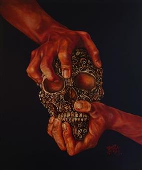 Vanessa Vilchis - La Morte Decorata di Gioventù II Oil on Canvas, Paintings
