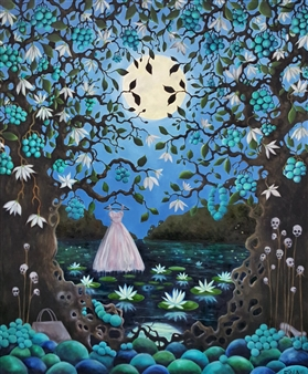 Josefina Wendel Carlsson - Moonlight Story Oil on Canvas, Paintings