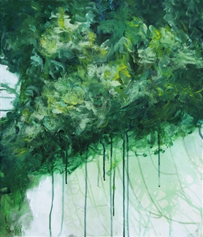 Ingrid Strecker - Impression Green Acrylic on Canvas, Paintings