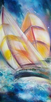Caroline Degroiselle - Dansing Marine in Sunny Veils Acrylic on Canvas, Paintings