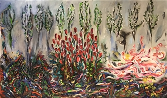 Lauralee Franco - My Mother's Garden Oil on Canvas, Paintings