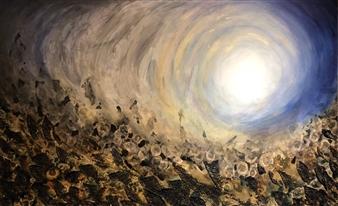 Tiffany Reid - Dauntless Acrylic & Copper Cinder on Canvas, Mixed Media