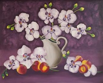Maribel Matthews - Orchids Oil on Canvas, Paintings