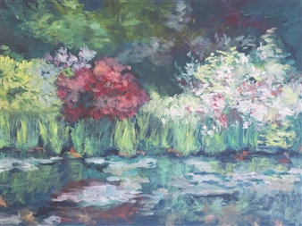 Margaret Adams - Garden Blossoms Oil on Canvas, Paintings