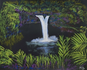 Raul Mariaca Dalence - Falls Wailuku River State Park Big Island Pastel on Canvas, Paintings