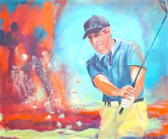Jutta Schulte - Golfer 3 Acrylic on Canvas, Paintings