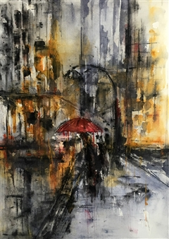 Dana Ingesson - So Lonely Despite All Lights Watercolor on Paper, Paintings