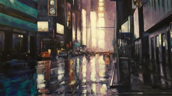 Emanuele Biagioni - Streets of New York Acrylic on Canvas, Paintings