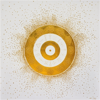 Diana Wunsch - Sun Gate: Prosperity Acrylic & 24 Karat Gold on Canvas, Mixed Media
