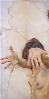Carolina Gutiérrez - Let Go Oil on Animal Skin, Mixed Media