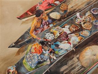 Eduardo Blanco - Mercado Acuático (Water Market) Watercolor on Paper, Paintings