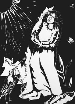 Marliese Scheller - Face au Soleil Ink on Paper, Drawings