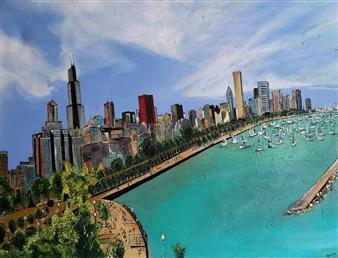 Rosalind Panda Dykla - Chicago City Skyline Oil on Canvas, Paintings