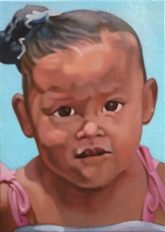 Takumi Kata (TAKU) - A Little Girl Staring at Me Acrylic on Canvas, Paintings