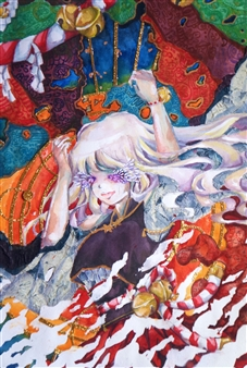 Xiao daCunha - And so She Treads Through the Clouds Mixed Media on Canvas, Mixed Media