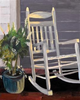 Pauline Rakis - Sit A While Acrylic on Canvas, Paintings
