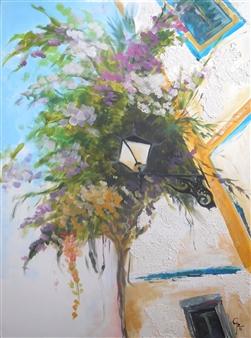 Rita Galambos - Puerto de Mogán-Gran Canaria Acrylic & Mixed Media on Canvas, Mixed Media