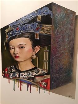 "Rosana Largo Rodríguez - ""Cyborg"" Artificial Intelligence Oil on Canvas, Paintings"