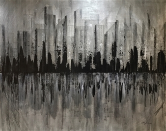 Lisa Sommers - My City Acrylic on Canvas, Paintings
