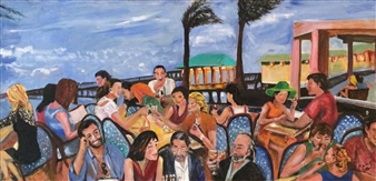 Marlene Kurland - Beach Dining in Ft Lauderdale Oil on Canvas, Paintings
