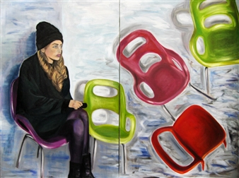 Grace Dam - The Wait Oil on Canvas, diptych, Paintings