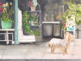 Nancy Holleran - Dog Shopping in Paris Watercolor on Paper, Paintings