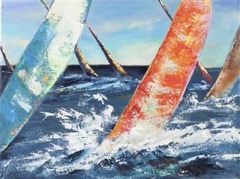 Arttiana - Happy Yachts Oil on Canvas, Paintings