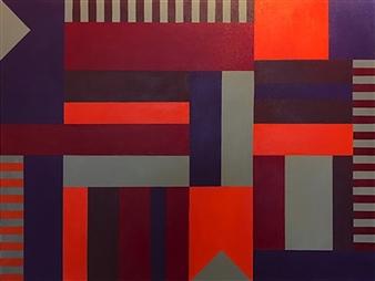Roberta Caviglia - Playful Geometry #3 Acrylic on Canvas, Paintings