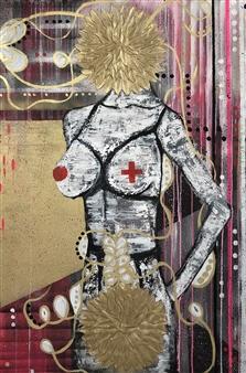Olga Chajmova Holcova - Game Over Acrylic & Mixed Media on Canvas, Mixed Media