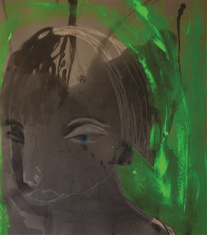 Melanie Young - Woman with Green Background Oil & Mixed Media on Paper, Drawings