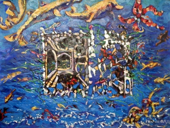 Alex Nemirovsky - Gateway to Under Water City Crayon and Acrylic on Paper, Mixed Media
