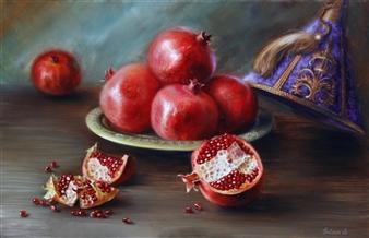 Svetlana Sintseva - Pomegranates Oil on Panel, Paintings