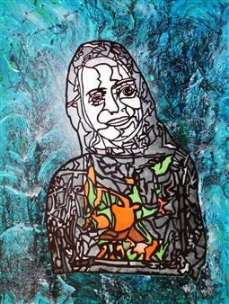 Henrik Sjöström (El Bastardo) - India's Daughter Acrylic & Spraypaint on Canvas, Paintings