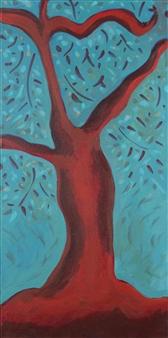 Claudia C Forero - Magic Tree I. Flora and Fauna. Acrylic on Canvas, Paintings