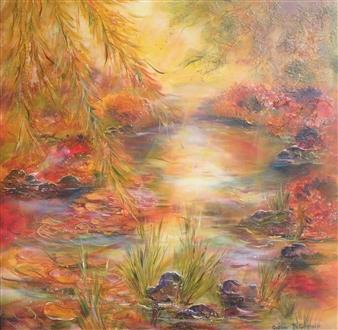 Caroline Degroiselle - The Pond Whose Sun Caresses Sleepiness Acrylic on Canvas, Paintings