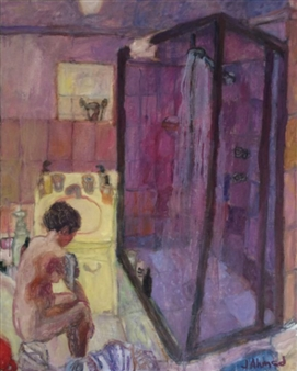 Jenny Ahmad - Violet Bathroom and Woman Dressing Oil on Canvas, Paintings