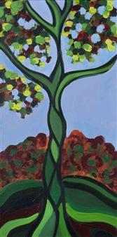 Claudia C Forero - Paradise Tree II. Flora and Fauna. Acrylic on Canvas, Paintings