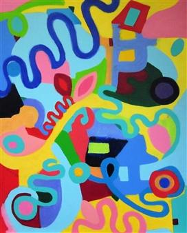 Claudia Mini - Le Monde à L'envers Acrylic on Canvas, Paintings