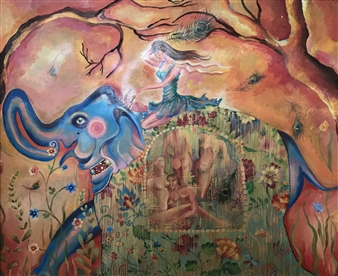 Teona Titvinidze-Kapon - Dreamful Elephant Acrylic & Oil on Canvas, Paintings