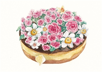 Charmaine Nadine Osaerang - Succulent Donut 1 Watercolor on Paper, Paintings