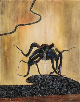 YeonSoo Kim - Tarantulas-1703 Acrylic & Beads on Canvas, Paintings