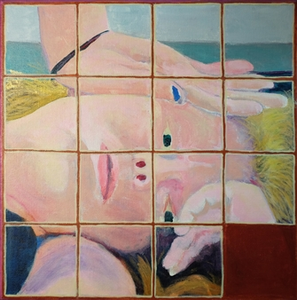 Martin Randall Joyce - Fifteen Puzzle: Recumbent Girl #1 Acrylic on Canvas, Paintings
